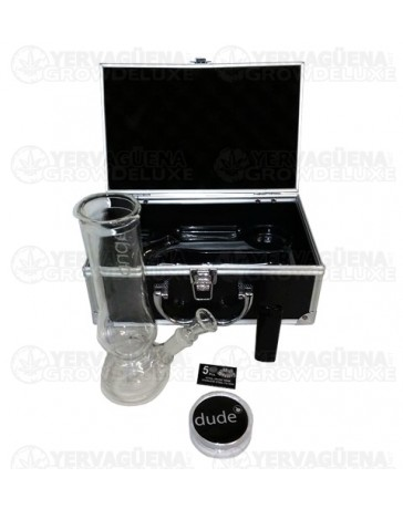 Pipa de cristal Dude en caja 22cm (PIPA + MECHERO + GRINDER + FILTROS)