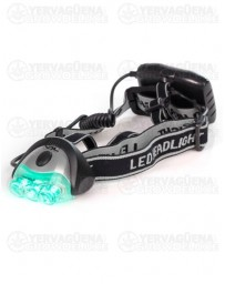 Linterna frontal LED luz verde